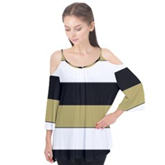 Black Brown Gold White Horizontal Stripes Elegant 8000 Sv Festive Stripe Flutter Tees