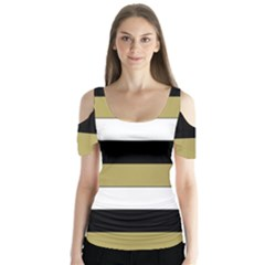 Black Brown Gold White Horizontal Stripes Elegant 8000 Sv Festive Stripe Butterfly Sleeve Cutout Tee
