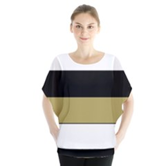 Black Brown Gold White Horizontal Stripes Elegant 8000 Sv Festive Stripe Blouse