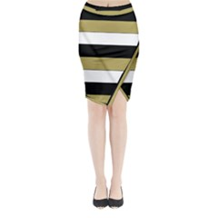 Black Brown Gold White Horizontal Stripes Elegant 8000 Sv Festive Stripe Midi Wrap Pencil Skirt