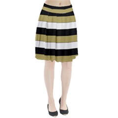 Black Brown Gold White Horizontal Stripes Elegant 8000 Sv Festive Stripe Pleated Skirt