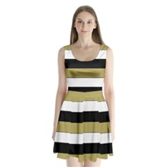 Black Brown Gold White Horizontal Stripes Elegant 8000 Sv Festive Stripe Split Back Mini Dress