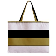 Black Brown Gold White Horizontal Stripes Elegant 8000 Sv Festive Stripe Medium Zipper Tote Bag