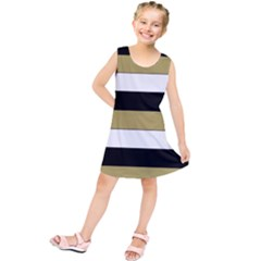 Black Brown Gold White Horizontal Stripes Elegant 8000 Sv Festive Stripe Kids  Tunic Dress