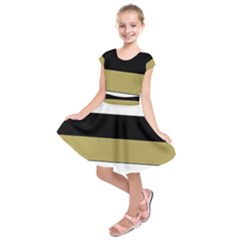 Black Brown Gold White Horizontal Stripes Elegant 8000 Sv Festive Stripe Kids  Short Sleeve Dress
