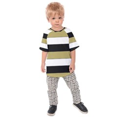 Black Brown Gold White Horizontal Stripes Elegant 8000 Sv Festive Stripe Kids  Raglan Tee