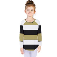 Black Brown Gold White Horizontal Stripes Elegant 8000 Sv Festive Stripe Kids  Long Sleeve Tee