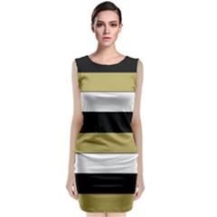 Black Brown Gold White Horizontal Stripes Elegant 8000 Sv Festive Stripe Sleeveless Velvet Midi Dress