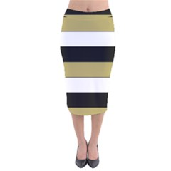 Black Brown Gold White Horizontal Stripes Elegant 8000 Sv Festive Stripe Velvet Midi Pencil Skirt