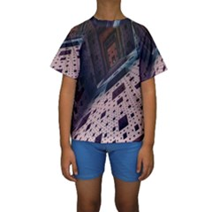 Industry Fractals Geometry Graphic Kids  Short Sleeve Swimwear