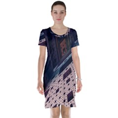 Industry Fractals Geometry Graphic Short Sleeve Nightdress
