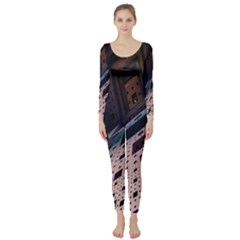 Industry Fractals Geometry Graphic Long Sleeve Catsuit