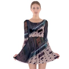 Industry Fractals Geometry Graphic Long Sleeve Skater Dress