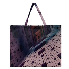 Industry Fractals Geometry Graphic Zipper Large Tote Bag