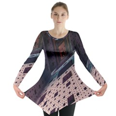Industry Fractals Geometry Graphic Long Sleeve Tunic