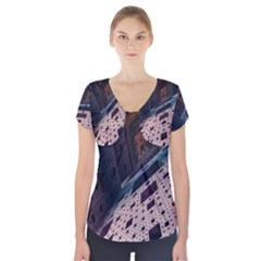 Industry Fractals Geometry Graphic Short Sleeve Front Detail Top
