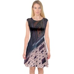 Industry Fractals Geometry Graphic Capsleeve Midi Dress