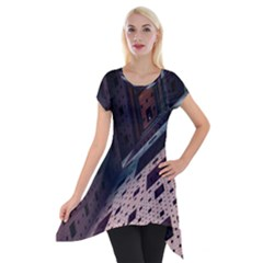 Industry Fractals Geometry Graphic Short Sleeve Side Drop Tunic