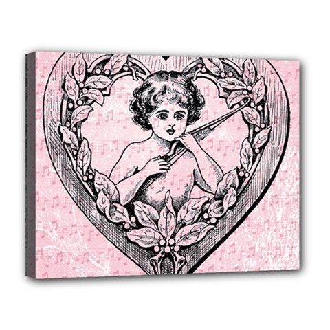 Heart Drawing Angel Vintage Canvas 14  x 11