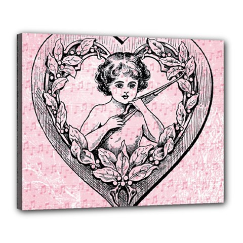 Heart Drawing Angel Vintage Canvas 20  x 16