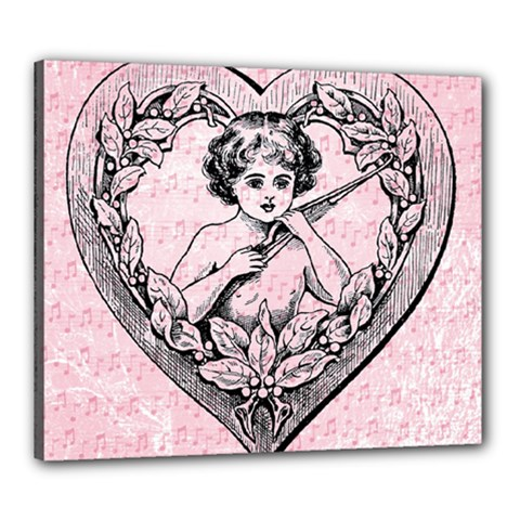 Heart Drawing Angel Vintage Canvas 24  x 20