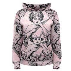Heart Drawing Angel Vintage Women s Pullover Hoodie