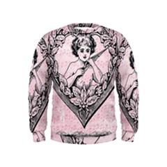 Heart Drawing Angel Vintage Kids  Sweatshirt