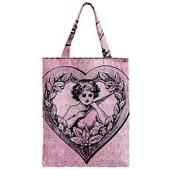 Heart Drawing Angel Vintage Zipper Classic Tote Bag