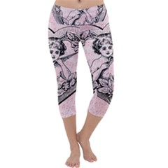 Heart Drawing Angel Vintage Capri Yoga Leggings