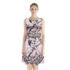 Heart Drawing Angel Vintage Sleeveless Chiffon Waist Tie Dress