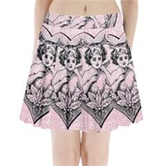 Heart Drawing Angel Vintage Pleated Mini Skirt