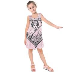Heart Drawing Angel Vintage Kids  Sleeveless Dress