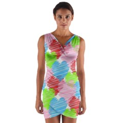 Holidays Occasions Valentine Wrap Front Bodycon Dress