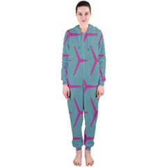 Pattern Background Structure Pink Hooded Jumpsuit (Ladies)