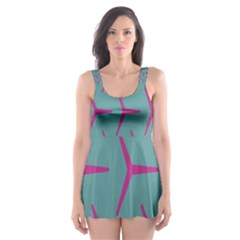 Pattern Background Structure Pink Skater Dress Swimsuit