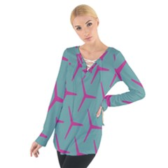 Pattern Background Structure Pink Women s Tie Up Tee