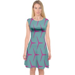 Pattern Background Structure Pink Capsleeve Midi Dress