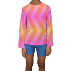 Pattern Background Pink Orange Kids  Long Sleeve Swimwear