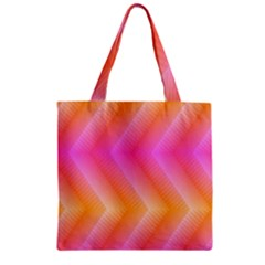 Pattern Background Pink Orange Zipper Grocery Tote Bag