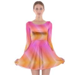 Pattern Background Pink Orange Long Sleeve Skater Dress