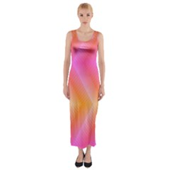 Pattern Background Pink Orange Fitted Maxi Dress