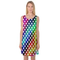 Pattern Template Shiny Sleeveless Satin Nightdress