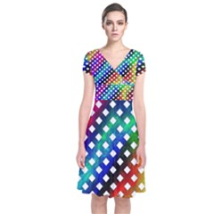 Pattern Template Shiny Short Sleeve Front Wrap Dress