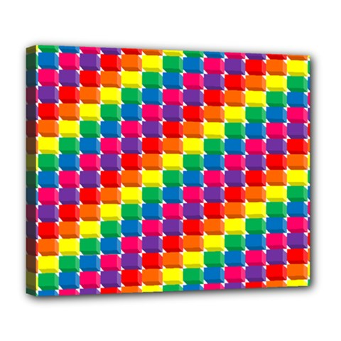Rainbow 3d Cubes Red Orange Deluxe Canvas 24  x 20