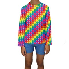 Rainbow 3d Cubes Red Orange Kids  Long Sleeve Swimwear