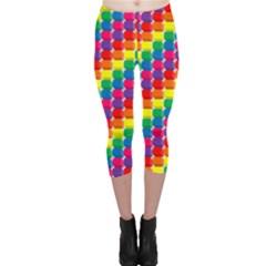 Rainbow 3d Cubes Red Orange Capri Leggings