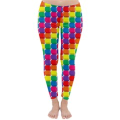 Rainbow 3d Cubes Red Orange Classic Winter Leggings