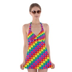 Rainbow 3d Cubes Red Orange Halter Swimsuit Dress