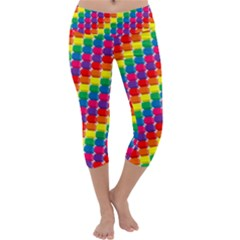 Rainbow 3d Cubes Red Orange Capri Yoga Leggings