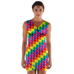 Rainbow 3d Cubes Red Orange Wrap Front Bodycon Dress